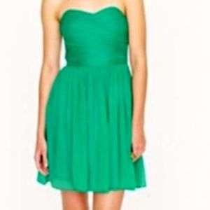 J. Crew Arabella Green Strapless Silk Dress